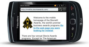 Stevie Awards mobile Homepage