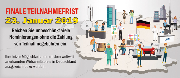 German Stevie Awards Banner Teilnahmefrist 23. Januar 2019